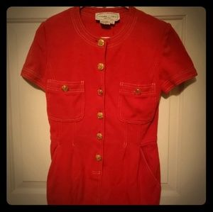 Vintage Red Mini Dress With Gold Buttons